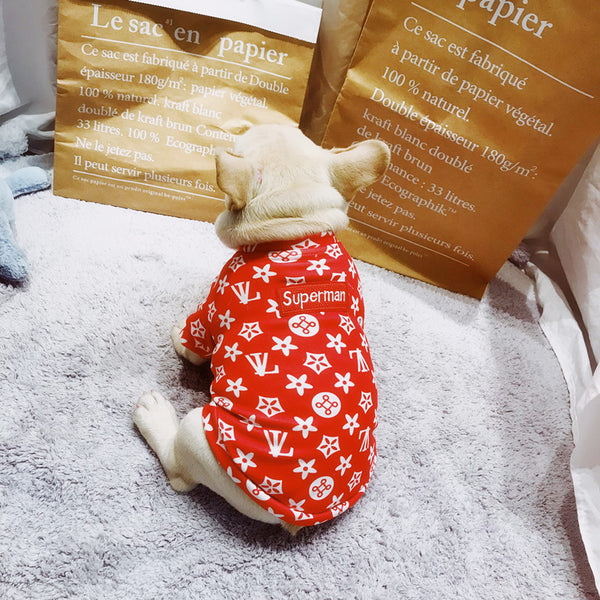 Street Fashion Red Summer Cotton Breathable Shirt Designer Costume For Small Medium Dogs - Pawsmeme.com