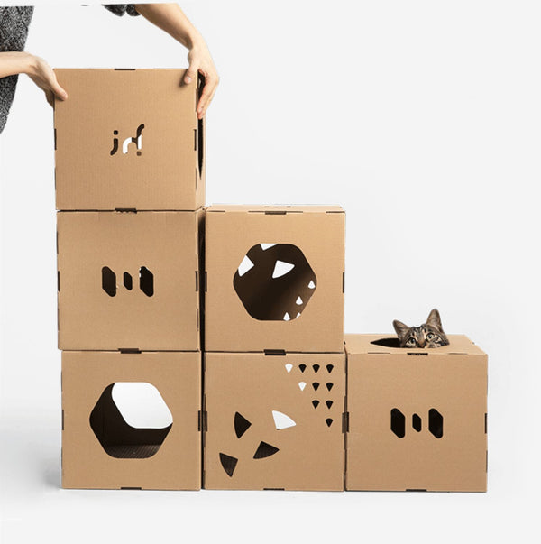 DIY Durable Tunnel Indoor Castle Playground Paper Box For Small Medium Cats - Pawsmeme.com