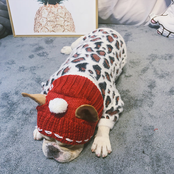 Leopard Print Fluffy Knit Warm Sweater Costume For Small Medium Dogs - Pawsmeme.com
