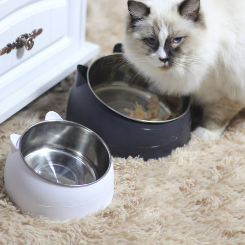 Cat Face Stainless Steel Raised Stand Easy Clean Designer Pet Feeding Bowl For Small Medium Cats - Pawsmeme.com