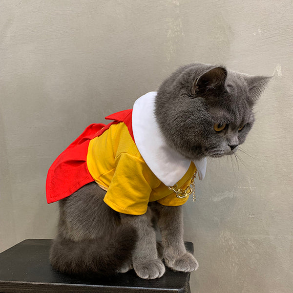 Broke Girls Style Waitress Cotton Summer Dress Costume For Small Medium Cats - Pawsmeme.com