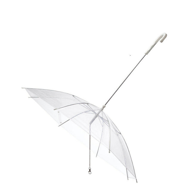 Transparent Umbrella Adjustable Durable Strong Handle & Leash For Small Medium Dogs - Pawsmeme.com