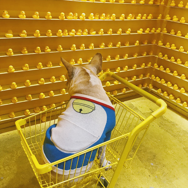 Doraemon Style Machine Cat Blue Thin Knit Sweater Costume For Small Medium Dogs - Pawsmeme.com