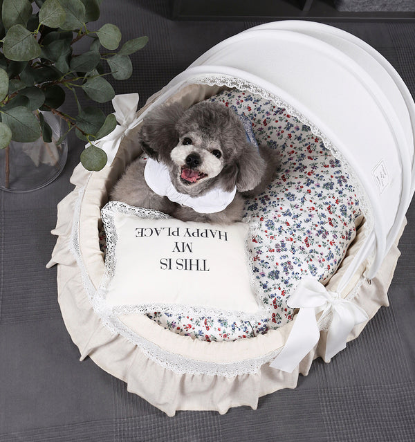 Princess Floral Durable Deep Sleep Indoor Pet Bed For Small Medium Dogs - Pawsmeme.com