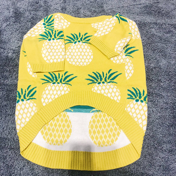 Pinapple Print Knit Yellow Sweater Costume For Small Medium Dogs - Pawsmeme.com