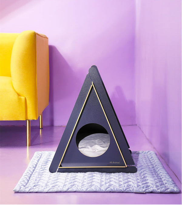 Modern Triangle Cushion Indoor Designer Pet House Bed For Small Medium Cats - Pawsmeme.com