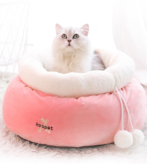 Pink Soft Cushion Round Princess Indoor Pet Bed For Small Medium Cats - Pawsmeme.com