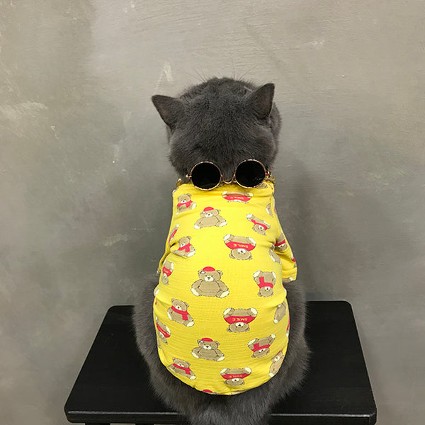 Teddy Bear Yellow Summer Lightweight T-shirt Costume For Small Medium Cats - Pawsmeme.com