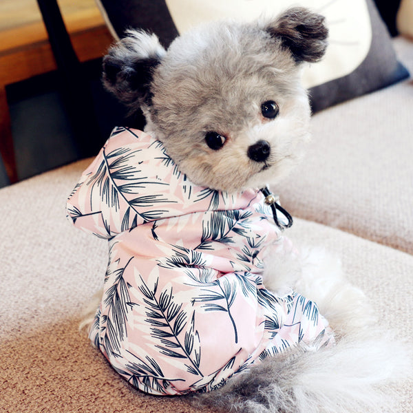 MORE COLORS Floral Print Hoodie Raincoat Leg Protection For Small Medium Dogs - Pawsmeme