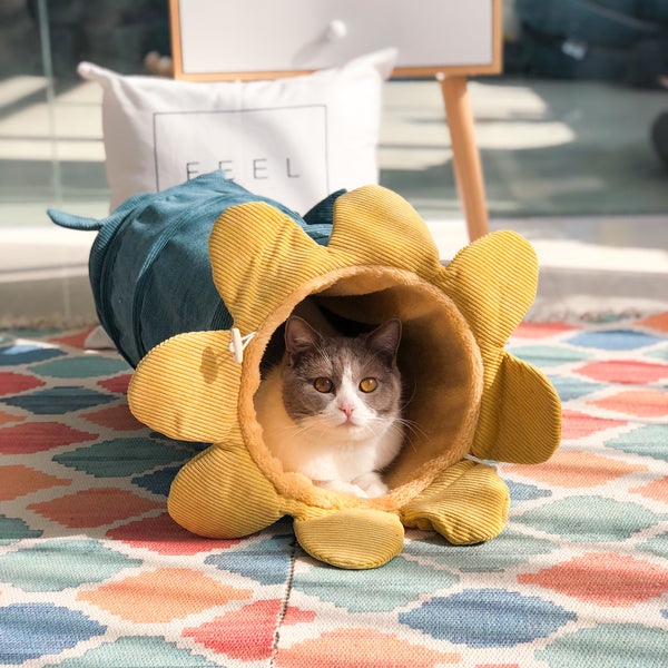 Sunflower Tunnel Indoor Pet Cushion Soft Playground Cat Bed For Small Medium Cats - Pawsmeme.com