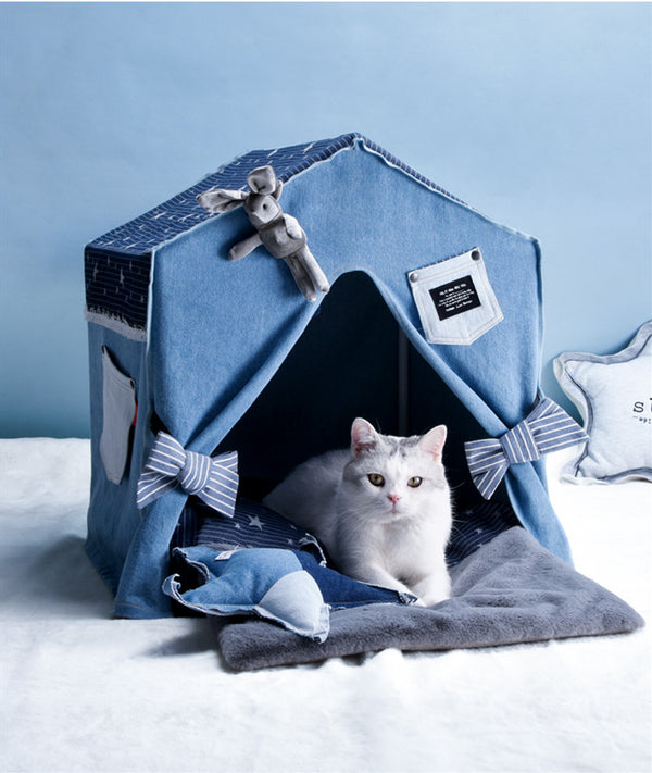 Edgy Blue Jeans Rabbit Cushion Indoor Pet Bed For Small Medium Cats - Pawsmeme.com