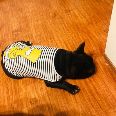Simpsons Stripe Summer Cotton Sleeveless Shirt Costume For Small Medium Dogs - Pawsmeme.com