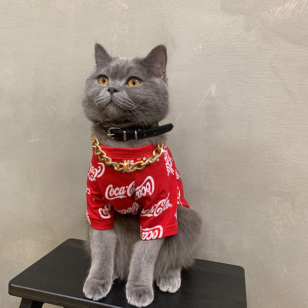 Coca-Cola Style Red Black Summer Thin Shirt Costume For Small Medium Cats - Pawsmeme.com