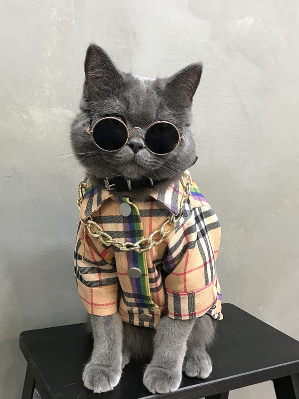 Burberry Style Rainbow Plaid Button Wind Jacket Costume For Small Medium Cats - Pawsmeme.com