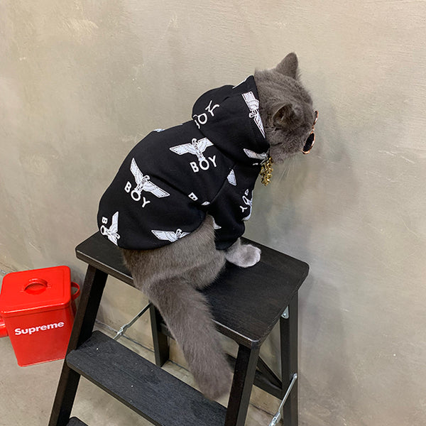 Boy London Style Black Woolen Sweatshirt Costume For Small Medium Cats - Pawsmeme.com