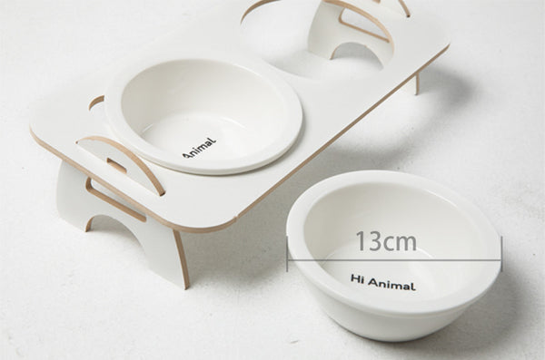 Modern Ceramic Raised Elevated Easy Clean Designer Pet Double Feeding Bowl For Small Medium Cats - Pawsmeme.com