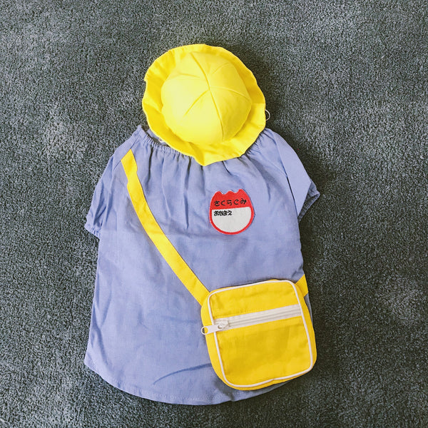 Cute Cotton Summer Breathable Uniform With Hat Costume For Small Medium Dogs - Pawsmeme.com