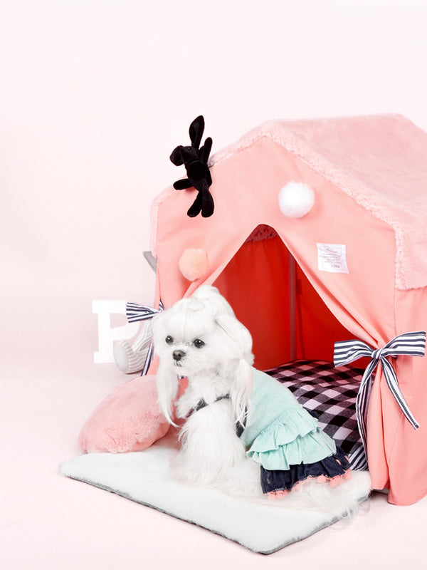 Pink Princess Cozy Soft Cushion Indoor Pet House For Small Medium Cats & Dogs - Pawsmeme.com