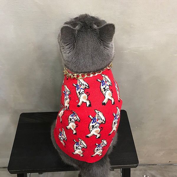 Dancing Piggy Red Knit Winter Sweater Costume For Small Medium Cats - Pawsmeme