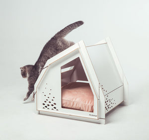 Modern White Spacious Cushion Indoor Designer Pet Bed House For Small Medium Cats & Dogs - Pawsmeme.com