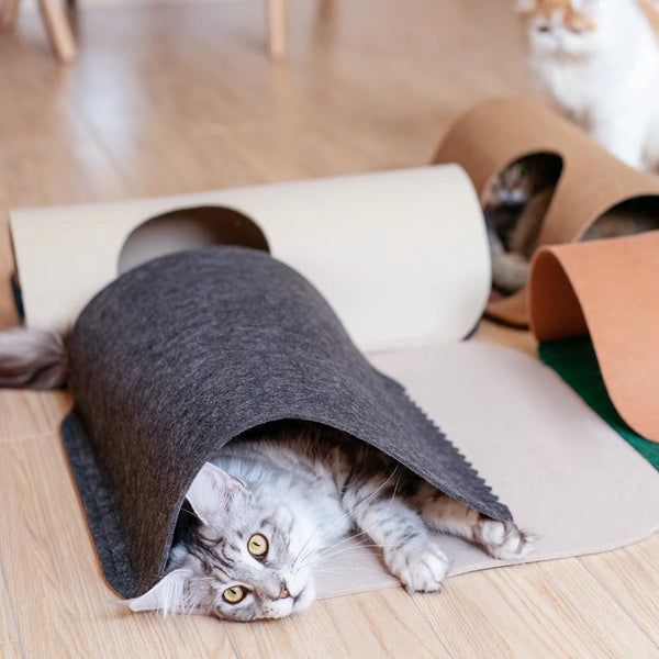 Vintage Felt Durable Tunnel Indoor Castle Playground For Small Medium Cats - Pawsmeme.com