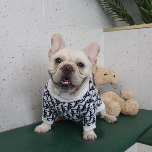 Dior Style Knit Sweater Warm Fall Winter Designer Costume For Small Medium Large Dogs - Pawsmeme.com