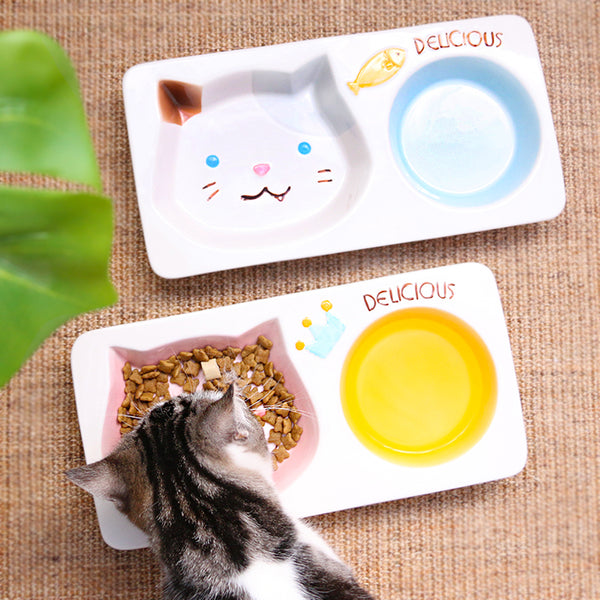 Cat Face Two In One Ceramic Easy Clean Designer Pet Feeding Bowl For Small Medium Cats - Pawsmeme.com