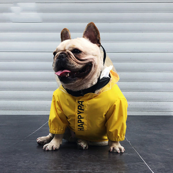 Yellow Pocket Raincoat With Face Shield Leg Protection For Small Medium Dogs - Pawsmeme.com