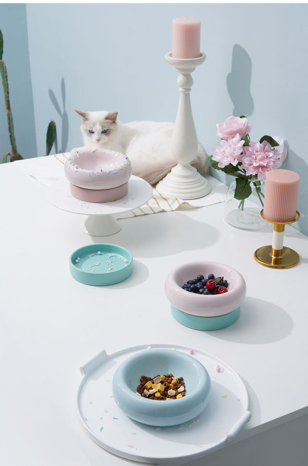 Donut Ceramic Stack-able Raised Elevated Easy Clean Designer Pet Feeding Bowl For Small Medium Cats - Pawsmeme.com