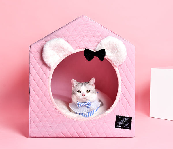 Mickey Mouse Style Princess Ribbon Cushion Indoor Pet House For Small Medium Dogs - Pawsmeme.com