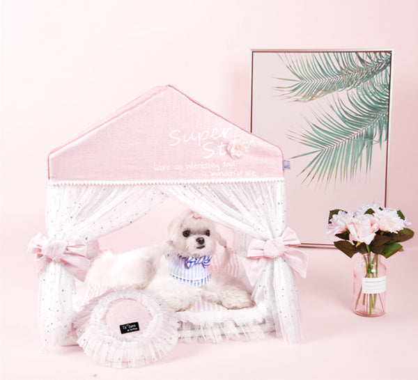 Princess Lace Dreamy Indoor Cushion Pet House Bed For For Small Medium Cats & Dogs - Pawsmeme