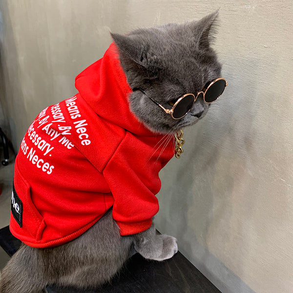 Supreme Style Red Woolen Street Words Print Hoodie Costume For Small Medium Cats - Pawsmeme.com