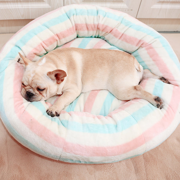 Baby Pink Blue Extra Soft Cushion Deep Sleep Indoor Pet Bed For Small Medium Dogs - Pawsmeme