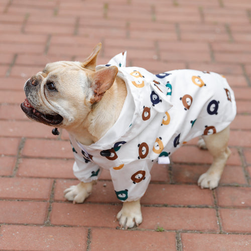 Teddy Bear Print White Hoodie Raincoat Leg Protection For Small Medium Dogs - Pawsmeme.com