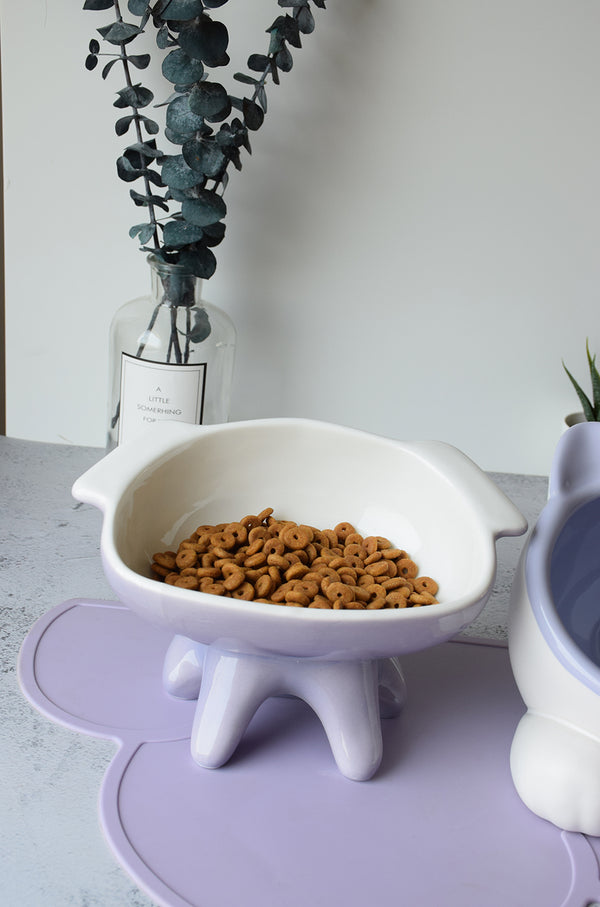 Purple Cat Face Wide Ceramic Raised Elevated Designer Pet Feeding Bowl For Small Medium Cats - Pawsmeme.com