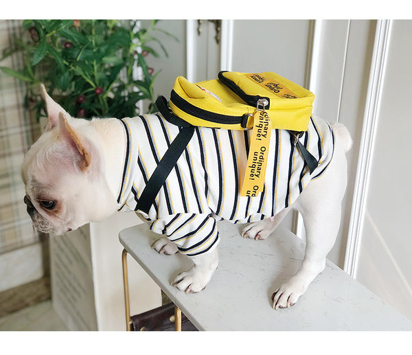 Attached Backpack Stripe Summer Cotton Shirt Uniform Costume For Small Medium Dogs - Pawsmeme.com