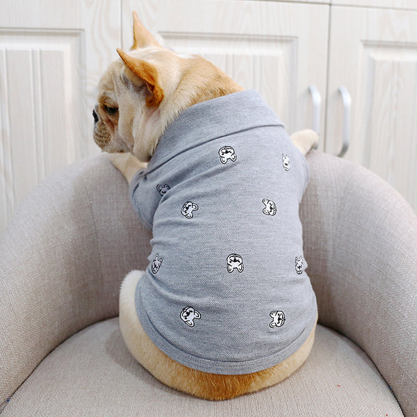 Bulldog Grey Summer Polo Cotton Shirt Costume For Small Medium Dogs - Pawsmeme.com