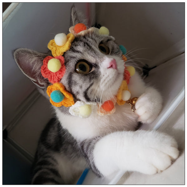 Cute Flower Necklace Knit Handmade Safety Designer Pet Collar with Bell For Small Medium Cats - Pawsmeme.com