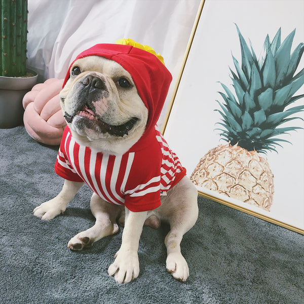 Popcorn Cute Red Stripe Cotton T-shirt Costume For Small Medium Dogs - Pawsmeme.com