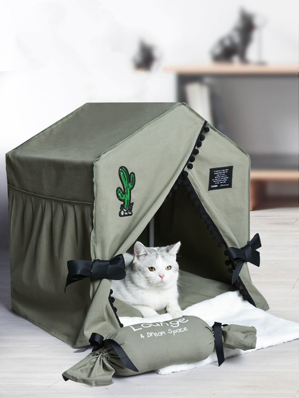 Edgy Cactus Canvas Cushion Washable Indoor Pet House For Small Medium Dogs - Pawsmeme.com