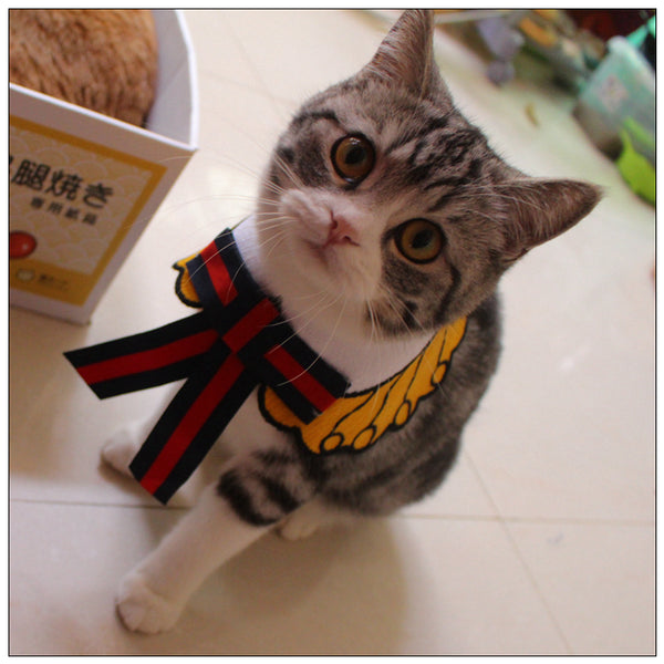 Vintage Ribbon Cotton Washable Adjustable Designer Pet Collar Costume Scarf Bandanas For Small Medium Cats - Pawsmeme.com