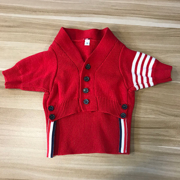 Thom Browne Style Red Knit Sweater With Tie Costume For Small Medium Cats - Pawsmeme.com