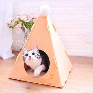 Felt Pyramid Soft Cushion Cave Deep Sleep Indoor Pet Bed For Small Medium Cats - Pawsmeme.com