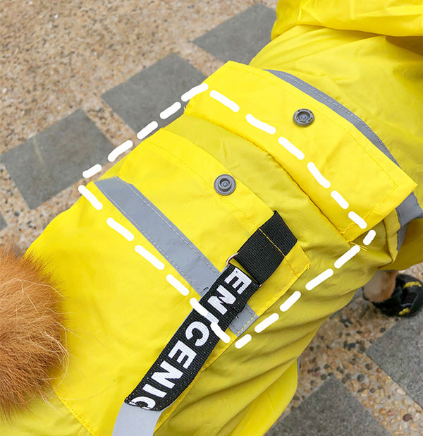 Yellow Raincoats Reflective Bands Stripe With Clear Face Shield For Small Medium Dogs - Pawsmeme.com