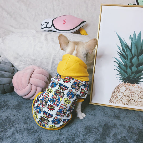 Street Style Cartoon Print Cotton Hoodie Costume For Small Medium Dogs - Pawsmeme