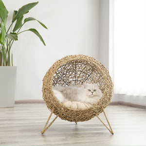 Rattan Weave Cushion Summer Pet Bed Home Decor For Small Medium Cats - Pawsmeme.com