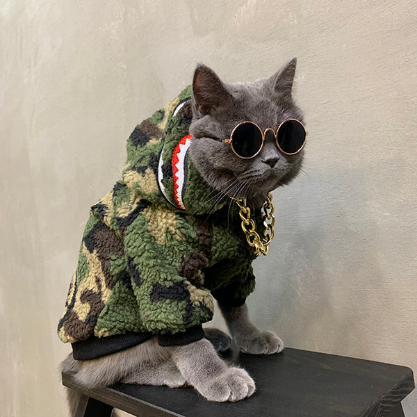 Bape Style Camouflage Green Winter Shark Jacket Costume For Small Medium Cats - Pawsmeme.com