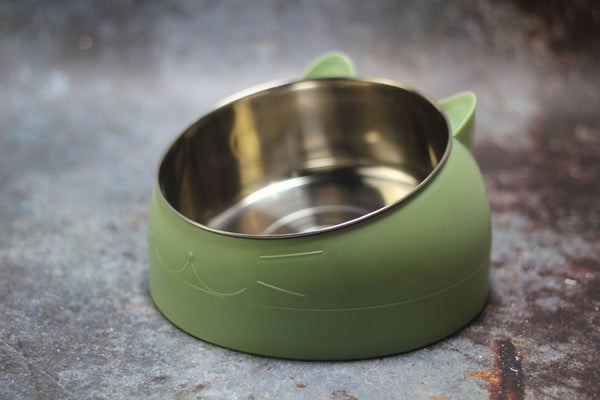 Cat Face Stainless Steel Raised Elevated Easy Clean Designer Pet Feeding Bowl For Small Medium Cats - Pawsmeme.com