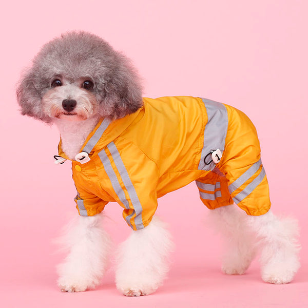 Candy Color Hoodie Raincoats Reflective Bands With Elastic Leg Protection For Small Medium Dogs - Pawsmeme.com