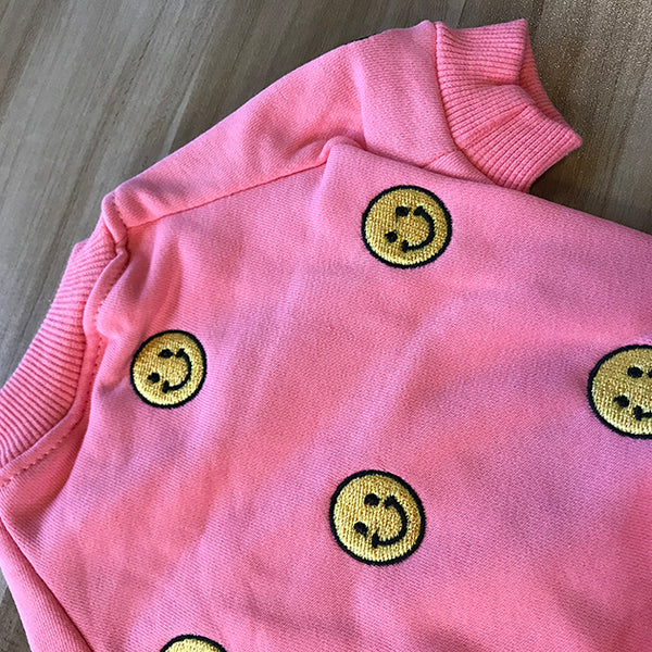 Street Style Smile Face Pink White Sweater Costume For Small Medium Cats - Pawsmeme